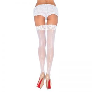 Leg Avenue Sheer Stockings With Backseam White UK 8 to 14