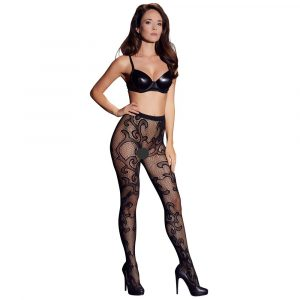 Cottelli Legwear Lacey Tights Black UK Size 812