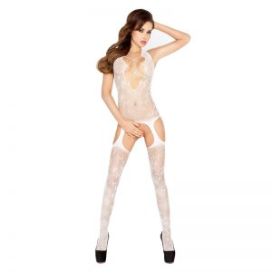 Passion Open Crotch Criss Cross Front Body Stocking White