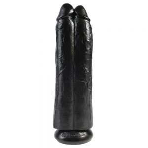 King Cock 11 Inch Black Two Cocks One Hole Hollow StrapOn