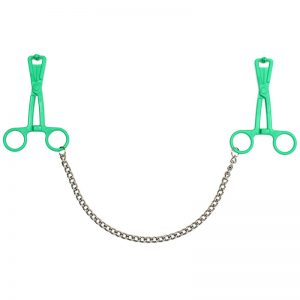 Green Scissor Nipple Clamps With Metal Chain