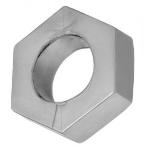 Silver Hex Heavy Duty Cock Ring and Ball Stretcher